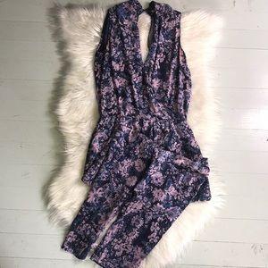Rebecca Taylor Silk Floral Print Jumpsuit Size 4